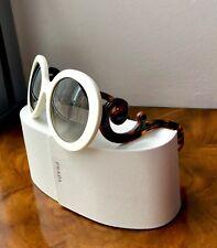 NWT White Round Tone Black & Tortoise Arms PRADA Minimal Baroque Sunglasses $420