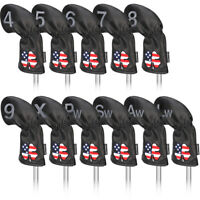 Golf Iron Club Headcovers 11Pcs/Set Black Leather Long Neck US Clover Embroidery