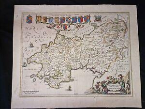 1650s ORIGINAL MAP Bleau Penbrochia Comitatus WALES Hand Colouring SPANISH TEXT