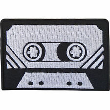 Black Grey Retro Cassette Tape Embroidered Iron / Sew on Patch T Shirt Bag Badge