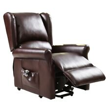 Brown Electric Lift Recliner Racing Chair w/Remote Control Relax Home Furniture