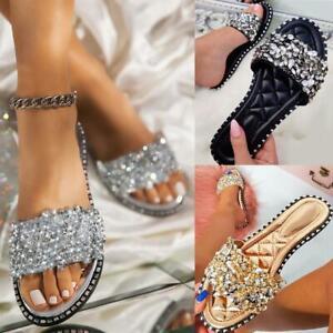 Womens Flat Summer Sandals Diamante Studs Sliders Slides Holiday Slip On Mules