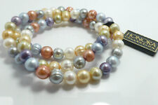 Gorgeous Set Of Three Genuine Honora Pearl /& Sterling Silver Bracelets