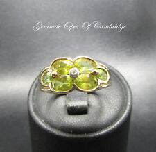 9ct Gold Peridot and Diamond Cluster Ring Size O