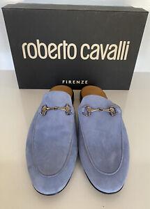 NIB Roberto Cavalli Baby Blue Suede Slipper Men's Sandals 12 US (45 Euro) IT