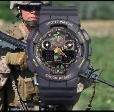 REGNO Unito Da Uomo Xl Nero Tattico Militare a Prova d'Urto LED digitale orologio sportivo.