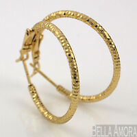 Gorgeous 9ct Yellow Gold Filled Textured Hoop Earrings 25mm New UK -255
