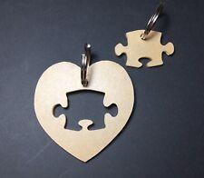 "(10) 2 1/4"" Heart W/ Puzzle Piece Acrylic 1/8' Thick Keychain Blanks"