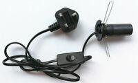 E14 SES Black UK Plug Light Bulb Holder Inline Switch Salt Desk Table Lamps