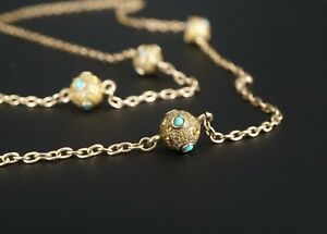 """Antique Victorian Rose Gold 9k Turquoise Station Necklace 6mm 29"""" NG914"""