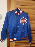 Vintage 80s Chicago Cubs Starter Satin Jacket Size M Medium USA Blue MLB