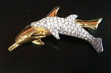 Swarovski Swan Mark Mother & Baby Dolphins Gold & Silver Two Tone Brooch Pin