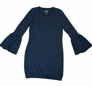 CYNTHIA ROWLEY Women's Large Sweater Dress knit 100% Merino Wool Navy Blue