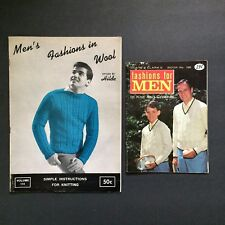 Lot 2 Mens Fashions Knit and Crochet Pattern Books Vtg 1965 Hilde Sweaters Vests