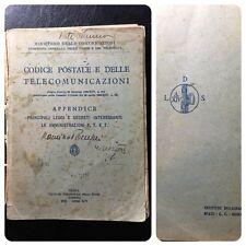 CODICE POSTALE E DELLE TELECOMUNICAZIONI 1936 PERIODO FASC IO LITTOR IO TIMBRI