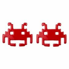 Joe Cool Branded Retro Gamers Space Invaders Alien Stud Earrings - Red