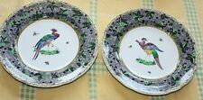 Copeland Spode plates x2 Exotic birds/Asiatic herons? Grape + vine-leaf rim
