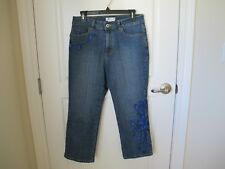 COLDWATER CREEK CAPRI JEANS WITH EMBROIDERY DETAILS SIZE 8