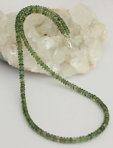 Green Apatite Necklace Precious Stone Beads 925 Silver Collier Approx. 47 CM