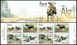 Aland Islands 165b booklet, MNH. Elk in Spring, Summer, Autumn, Winter, 2000