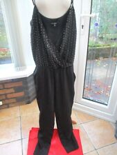 Next Petite black beaded drape trouser Jumpsuit size 12