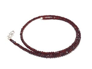 """18""""Inch Necklace Mozambique Garnet Rondelle 3.5-4mm Micro Faceted Gemstone Beads"""