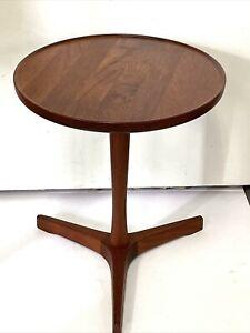 Teak Pedestal Side Table by Hans C Andersen for Artex Scandinavian Danish Modern