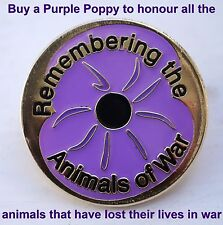 Pack of 20 x 'REMEMBERING THE ANIMALS OF WAR' Purple Poppy Lapel / Pin Badges