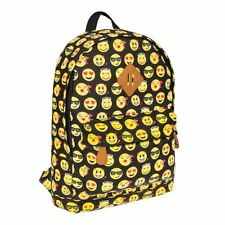 Blue Banana Yellow Emoji Black Backpack, Unisex Canvas Print School Rucksack