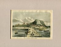 Town And Harbour Of Alicante Spain, Woodcut Coloured Hand, 1860