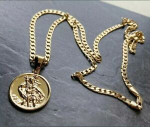 18 Ct Gold Filled gf St. Christopher Pendant Necklace curb Chain Gold Boys Mens