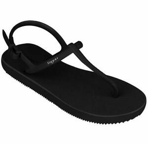 fipper slipper STRAPPY Black Natural Rubber Thongs Sandals (Womens sizes)