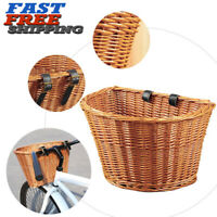 1PC Retro Bike Front Basket Bicycle Rattan Handlebar Cargo Shopping Camping Box