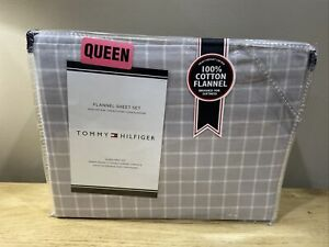 NEW! Tommy Hilfiger 100% Heavyweight Cotton Flannel QUEEN SIZE Sheet Set Design
