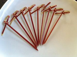 Red Bamboo Loop Skewer 90mm  - Pick 10-20-50-100-200 - Canapes - Cocktail Drinks