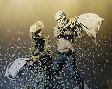 Banksy Walled off Hotel Pillow Fight canvas 16 x 20 Print graffiti