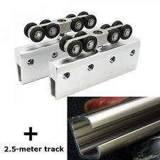 VIBORG Sliding Frameless Galss Door Hardware Wheels Roller with 2.5-meter track