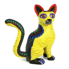 LARGE CAT Oaxacan Alebrije Wood Carving Handcrafted Mexican Folk Art Sculpture