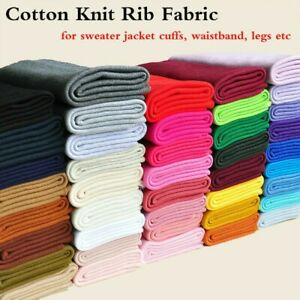 Cotton Knit Rib Fabric Stretchy Sweater Jacket Waistband Cuffs Ribbed Trim Craft