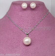 Natural 10mm/14mm Pink Shell Pearl Pendant Necklace 925 Silver Stud Earrings Set