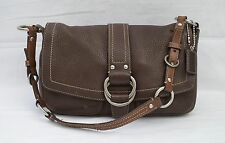 COACH Chelsea Two Tone Brown Pebbled Leather Shoulder Purse Bag F10893