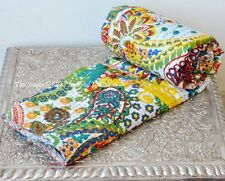 Indian Handmade TWIN Cotton Paisley Kantha Blanket Throw Quilt Vintage Bed Cover