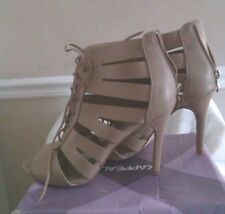 Beige Tan Cut Out Lace Up Peep Toe 4-Inch Heel Shoes Women Size 10M