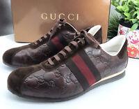 Gucci Authentic 90s GG Logo Leather Sneakers Web Stripe 10 US 10.5/11 W/ Box