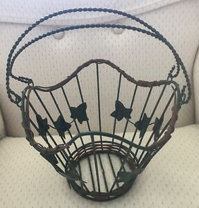 Green Wire Basket with Metal Ivy & a Real Wood Vine Wrapped around Top/Bottom!