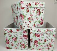 Rare lot of 3 Ikea Kallax Floral Cath Kidston Cube Storage Boxes Expedit