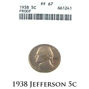 1938 5C Jefferson Nickel Proof Graded by ANACS as PF67! Gorgeous Nickel