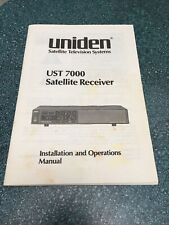 Uniden Ust 7000 Satellite Receiver Installation & Operations Manual Television