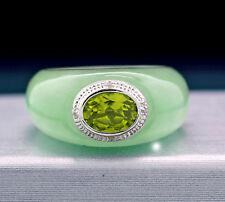 Jadeanillo verde con Diamantes y Peridoto en oro blanco 585 Nuevo (38403)