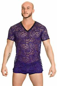 L'Homme Invisible Ocean Life V Neck See Through Men's T-Shirt